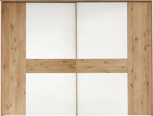 SCHWEBETÜRENSCHRANK 2-türig Eiche massiv Eichefarben, Weiß - Chromfarben/Eichefarben, Design, Glas/Holz (299,2/231/71,3cm) - Valdera