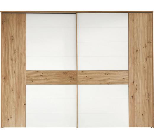 SCHWEBETÜRENSCHRANK 2-türig Eiche massiv Weiß, Eichefarben - Chromfarben/Eichefarben, Design, Glas/Holz (299,2/231/71,3cm) - Valdera