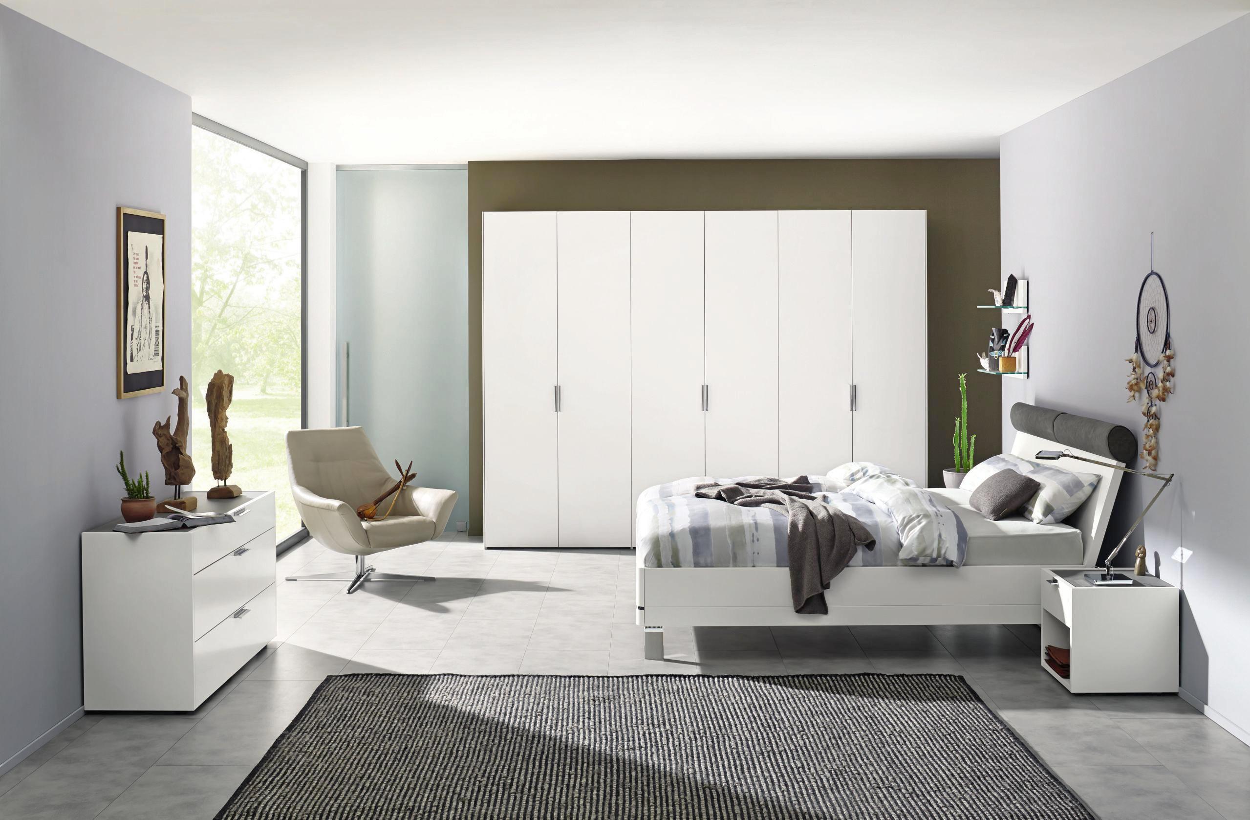 SCHLAFZIMMER Grau, Weiß   Weiß/Grau, KONVENTIONELL, Holz (180/200cm