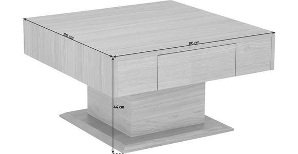 COUCHTISCH in Holz 80/80/44 cm - Eichefarben/Nickelfarben, KONVENTIONELL, Holz/Metall (80/80/44cm) - Voleo