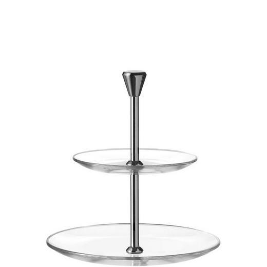 ETAGERE - Klar/Silberfarben, KONVENTIONELL, Glas/Metall (21/22.5/21cm) - Leonardo