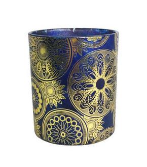 VÄRMELJUSHÅLLARE - blå/guldfärgad, Lifestyle, glas (9/10cm) - Ambia Home