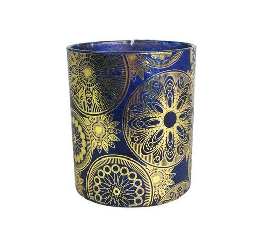 TEELICHTHALTER - Blau/Goldfarben, LIFESTYLE, Glas (9/10cm) - Ambia Home