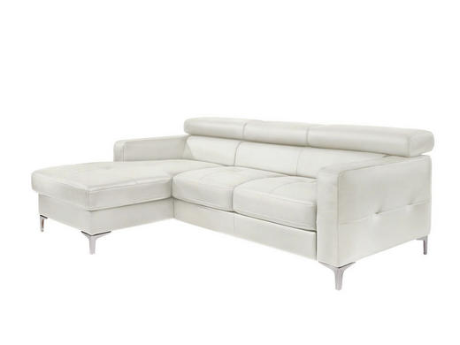 Ecksofa Weiß Lederlook - Silberfarben/Weiß, Design, Textil (169/226cm) - Carryhome