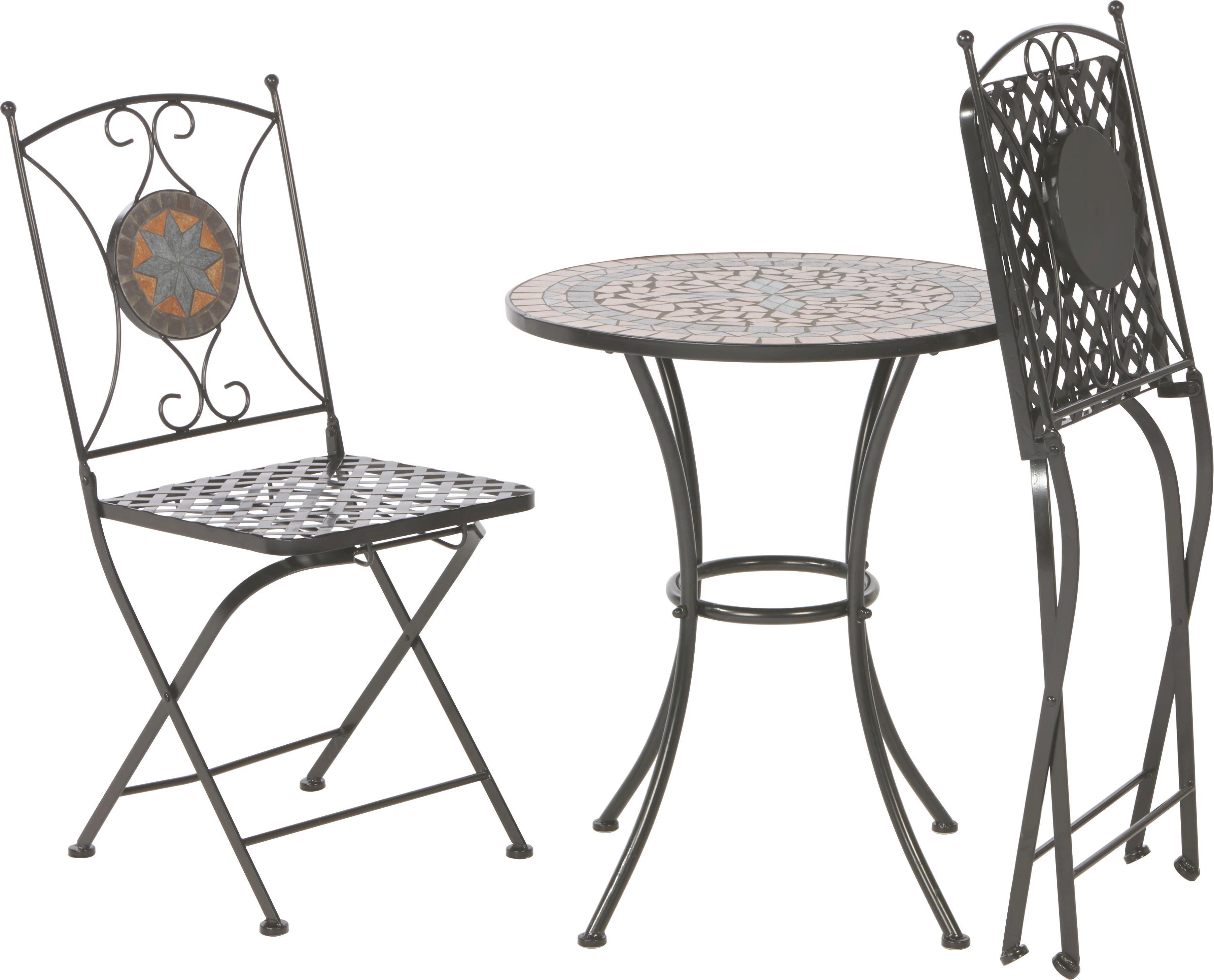 SET ZA BALKON - črna/večbarvno, Trendi, kovina/keramika (60/36/72/91/60/35cm) - AMBIA GARDEN