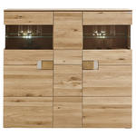 HIGHBOARD Eiche furniert, massiv Eichefarben, Transparent  - Eichefarben/Transparent, KONVENTIONELL, Glas/Holz (155/142,9/38cm) - Cantus