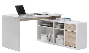 PISAĆI STOL KUTNI - bijela/boje hrasta, Design, drvni materijal/plastika (140/75/65/33cm) - Boxxx