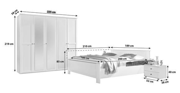 SCHLAFZIMMER in Weiß  - Weiß, LIFESTYLE, Glas/Holzwerkstoff (180/200cm) - Cantus