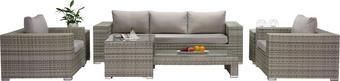 GARTENSET Webstoff Kunststoffgeflecht Aluminium - Hellgrau, Design, Glas/Kunststoff (228/58/89cm) - Ambia Garden