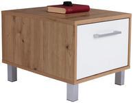 Nachtkästchen Eiche Dekor/Weiß H, 37 cm Box - Eichefarben/Alufarben, MODERN, Holzwerkstoff (50/37/50cm) - Ombra