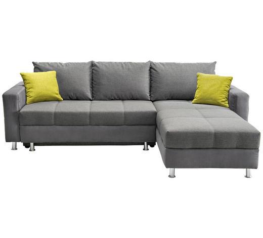 WOHNLANDSCHAFT in Textil Grau - Chromfarben/Weiß, Design, Kunststoff/Textil (259/164cm) - Xora