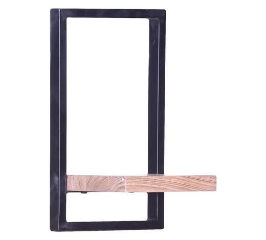 WANDREGAL Akazie massiv Schwarz, Akaziefarben  - Schwarz/Akaziefarben, Design, Holz/Metall (20/35/20cm) - Carryhome
