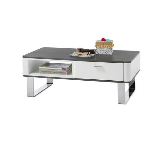 COUCHTISCH rechteckig Weiß, Dunkelgrau  - Edelstahlfarben/Dunkelgrau, Design, Metall (108/60/41cm) - Carryhome