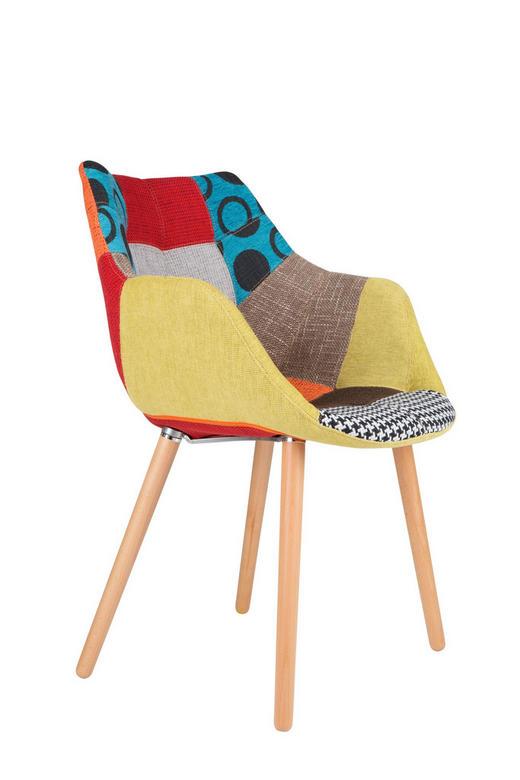 ARMLEHNSTUHL Flachgewebe Multicolor - Buchefarben/Multicolor, Design, Holz/Textil (60/60/82cm)