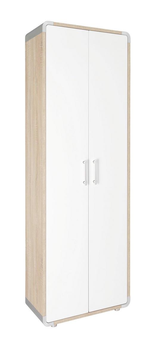 GARDEROBENSCHRANK Hochglanz Sonoma Eiche, Weiß - Silberfarben/Weiß, Design, Holzwerkstoff/Kunststoff (63/187/32cm) - Moderano