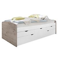 VÝSUVNÁ POSTEL - bílá/barvy dubu, Design, kompozitní dřevo (90/200cm) - Carryhome