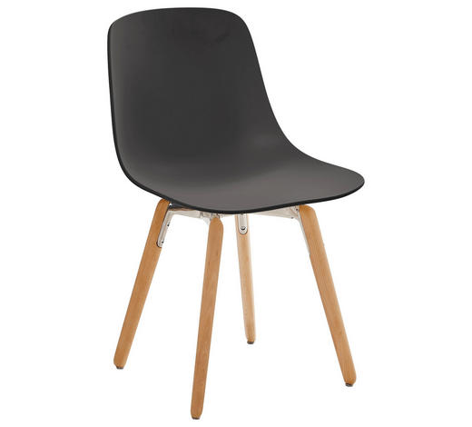 STUHL in Holz, Kunststoff Schwarz, Buchefarben, Dunkelgrau - Dunkelgrau/Buchefarben, Design, Holz/Kunststoff (47,3/80,3/54cm)