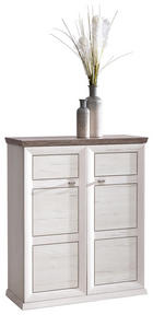 Schuhschrank - Weiß/Grau, Lifestyle, Holzwerkstoff/Metall (90,2/108,5/38,5cm) - Hom`in