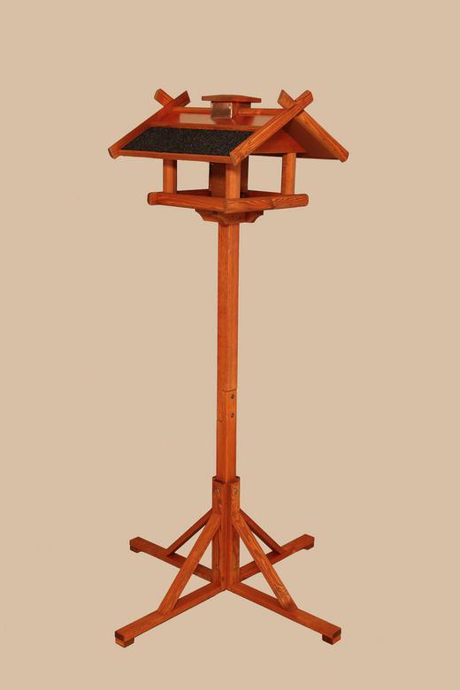 Vogelhaus mit Kupferdach - Braun/Kupferfarben, Holz/Metall (50/155/49cm)