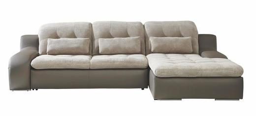 ECKSOFA Webstoff Bettkasten, Nierenkissen, Schlaffunktion - Chromfarben/Beige, MODERN, Textil/Metall (270/205cm) - CARRYHOME