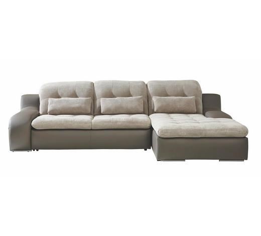 WOHNLANDSCHAFT in Textil Grau, Beige  - Chromfarben/Beige, Design, Textil/Metall (270/205cm) - Carryhome