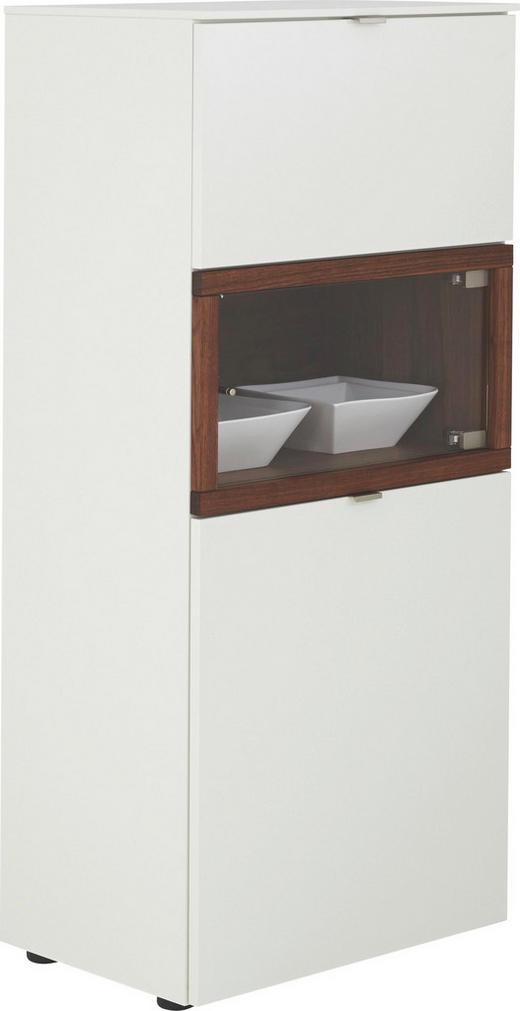 HIGHBOARD Nussbaum furniert geölt, Mattlack Nussbaumfarben, Weiß - Nussbaumfarben/Alufarben, Design, Holz/Holzwerkstoff (60/139/43cm) - Venjakob