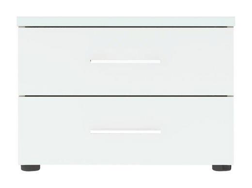 NACHTKÄSTCHEN Hochglanz, lackiert Weiß - Chromfarben/Schwarz, Design, Kunststoff/Metall (50/36/39,5cm) - CARRYHOME