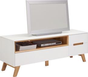 MEDIABÄNK - vit/ekfärgad, Design, trä/träbaserade material (153/54,5/41cm) - Hom`in
