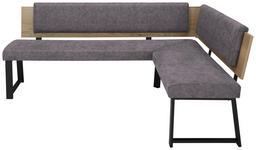 ECKBANK 200/160 cm  in Grau, Schwarz, Eichefarben  - Eichefarben/Schwarz, MODERN, Holzwerkstoff/Textil (200/160cm) - Venda