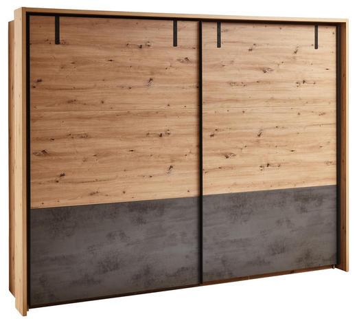 OMARA Z DRSNIMI VRATI, siva, hrast  - siva/hrast, Trendi, kovina/leseni material (280/215/60cm) - Ti`me