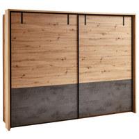 ORMAR S KLIZNIM VRATIMA - siva/boje hrasta, Lifestyle, drvni materijal/metal (270/210/60cm) - Ti`me