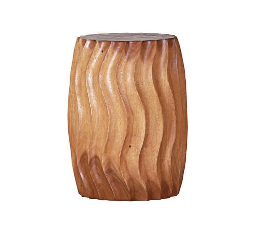 HOCKER Suar Holz massiv Naturfarben  - Naturfarben, Design, Holz (30-35/47cm)