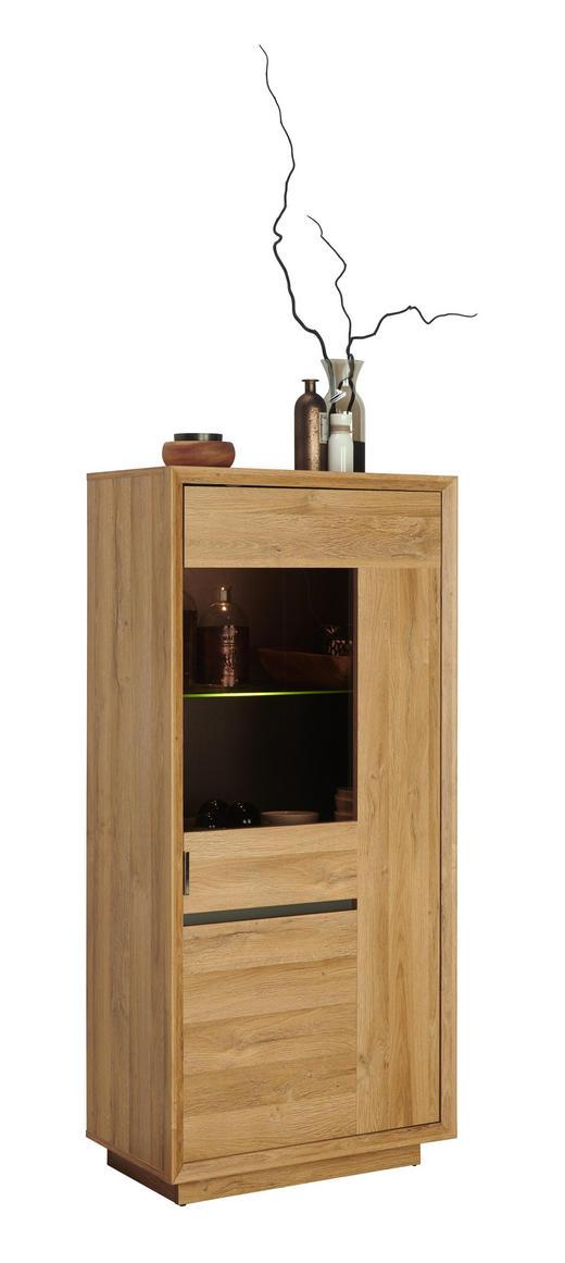 VITRINE in Eichefarben - Chromfarben/Eichefarben, Design, Glas/Holzwerkstoff (67/144/38cm) - Hom`in
