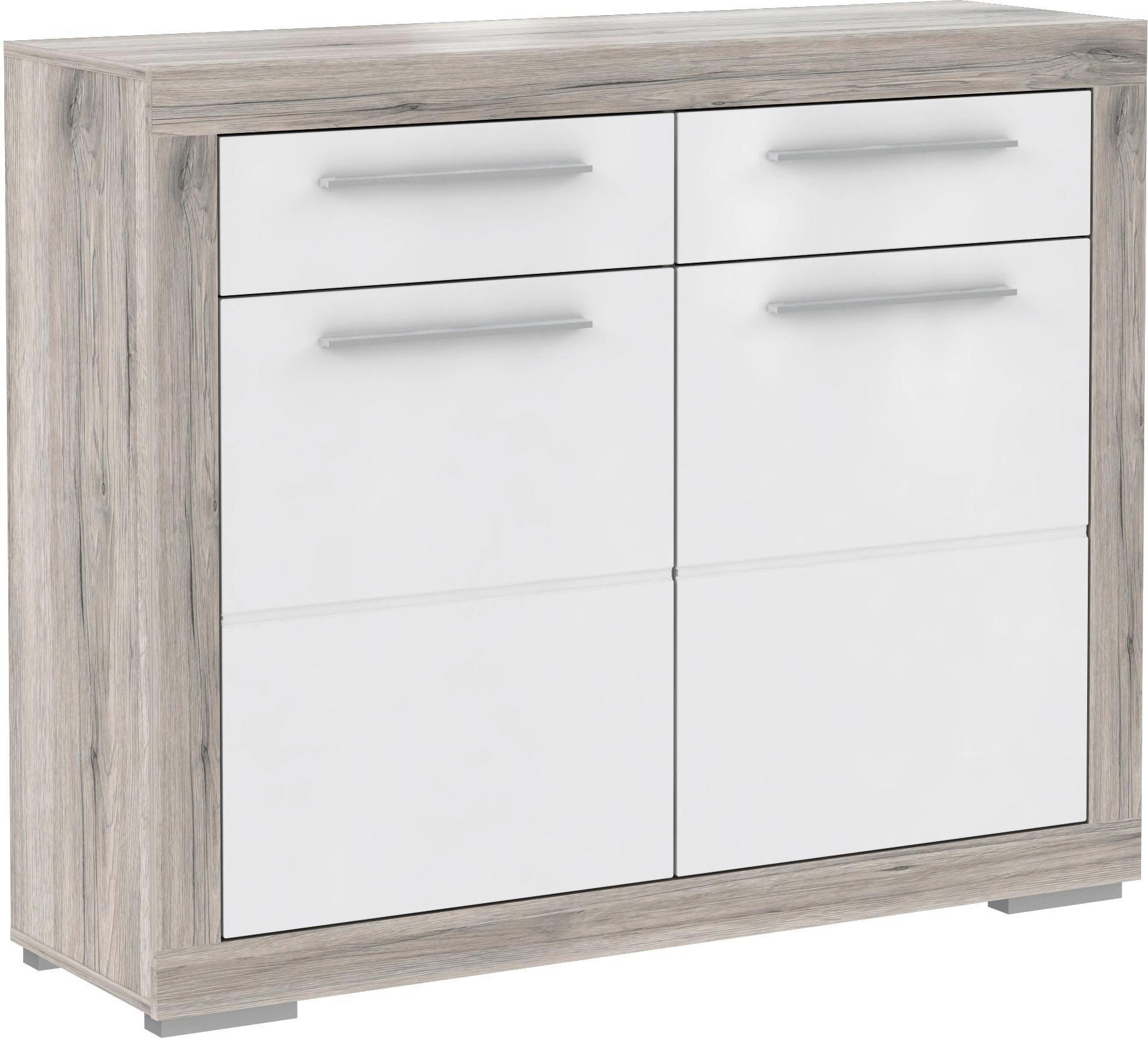 SCHUHSCHRANK Hochglanz Eichefarben, Weiß - Eichefarben/Alufarben, Basics, Holzwerkstoff/Kunststoff (118,6/96,9/36,3cm) - CARRYHOME