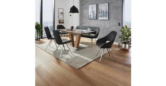 SITZBANK 175/88/66 cm  in Braun, Taupe, Edelstahlfarben  - Taupe/Edelstahlfarben, Design, Textil/Metall (175/88/66cm) - Voleo