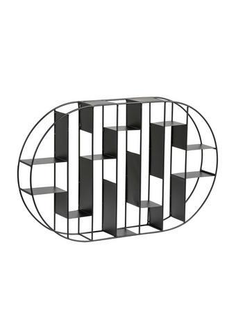 STENSKI REGAL 64/9/40 cm črna  - črna, Design, kovina (64/9/40cm) - Xora