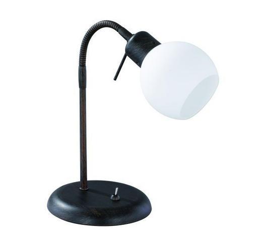 LAMPA STOLNÍ - bílá/rezavá, Basics, kov/sklo (15/40cm)