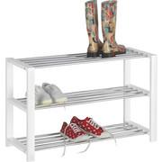 REGÁL NA BOTY - bílá/barvy chromu, Design, kov/dřevěný materiál (80/50/30cm) - CARRYHOME