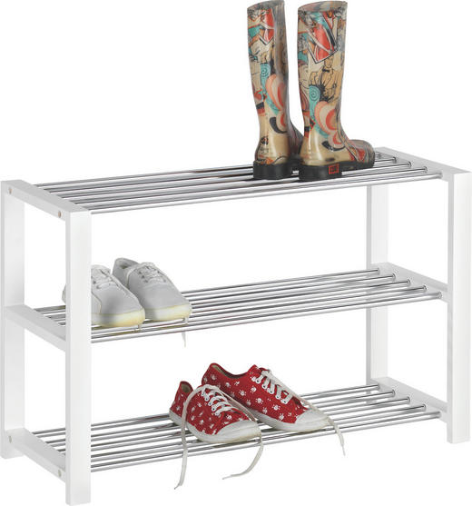 SCHUHREGAL lackiert Chromfarben, Weiß - Chromfarben/Weiß, Design, Metall (80/50/30cm) - Carryhome