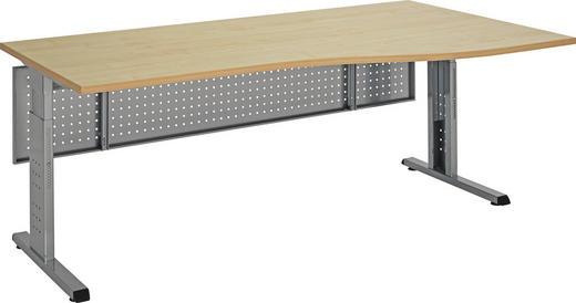 SCHREIBTISCH - Silberfarben/Ahornfarben, KONVENTIONELL, Holzwerkstoff/Metall (180/100cm)