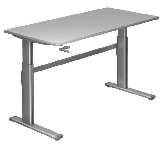 SCHREIBTISCH - Silberfarben/Grau, Design, Holzwerkstoff/Metall (160/72-119/80cm)