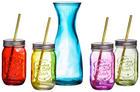GLÄSERSET 9-teilig - Blau/Pink, Basics, Glas/Metall (7,5/14cm)