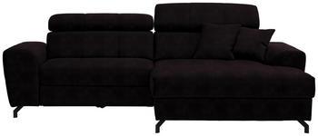 WOHNLANDSCHAFT in Textil Aubergine  - Aubergine/Schwarz, MODERN, Textil/Metall (267/181cm) - Carryhome