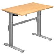 SCHREIBTISCH - Silberfarben/Ahornfarben, Design, Holzwerkstoff/Metall (120/72-119/80cm)