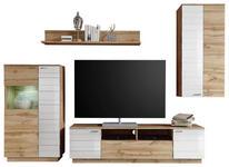 WOHNWAND Eichefarben, Weiß - Eichefarben/Silberfarben, KONVENTIONELL, Holzwerkstoff/Kunststoff (237/200/47cm) - Cantus