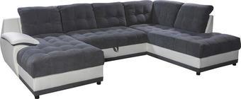 SEDEŽNA GARNITURA,  bela, siva les, tekstil - aluminij/siva, Design, umetna masa/tekstil (165 345 210cm) - Xora