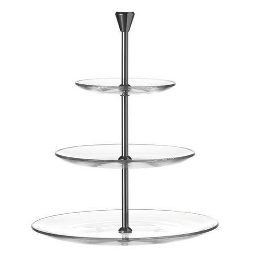 ETAGERE - Klar/Silberfarben, KONVENTIONELL, Glas/Metall (30cm) - Leonardo