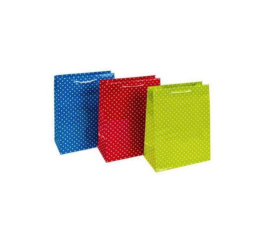 GESCHENKTASCHE - Blau/Rot, KONVENTIONELL, Papier (17/22,5/9,2cm)
