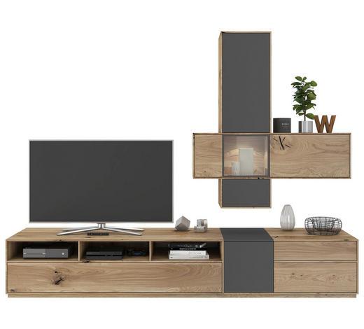 OBÝVACÍ STĚNA, šedá, barvy dubu - šedá/barvy dubu, Design, dřevo/kompozitní dřevo (265/205/50cm) - Valnatura
