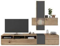 WOHNWAND Eiche massiv Grau, Eichefarben - Eichefarben/Grau, Design, Glas/Holz (265/205/50cm) - Valnatura